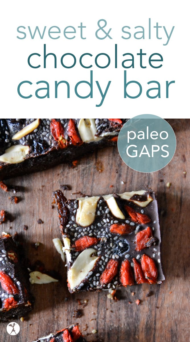 This delicious and easy-to-make sweet and salty chocolate bar with fruit and nuts is the perfect healthy treat for chocolate lovers! It's naturally gluten-free, and also dairy and refined sugar free with a paleo option. #sweetandsalty #chocolate #healthycandy #glutenfree #paleo #fullgapsdiet #dairyfree #refinedsugarfree