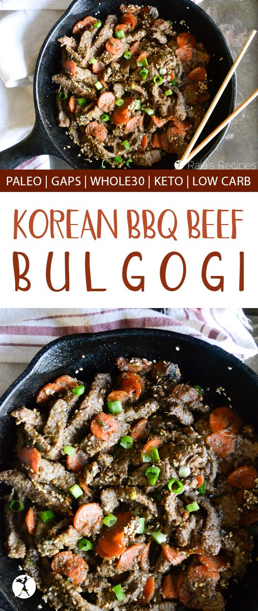 Bulgogi (a.k.a. Korean BBQ Beef) is the perfect blend of sweet and salty! This easy paleo recipe will have you wishing you made a double batch... #korean #bulgogi #bbq #asian #paleo #whole30 #keto #lowcarb #glutenfree #beef