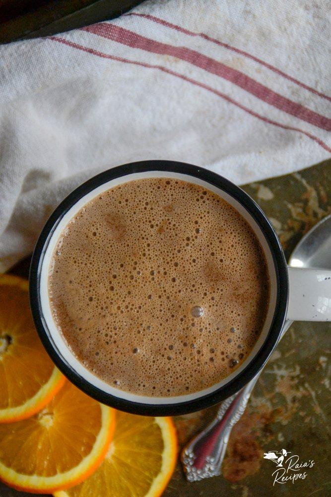 top shot of almond orange hot cocoa from raiasrecipes.com