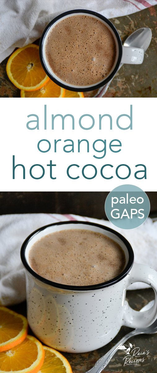 This almond orange hot cocoa is a delicious and nourishing twist on a classic winter drink. Made with almond milk and sweetened with honey, it's a healthy and warming treat. #hotcocoa #hotchocolate #drinks #paleo #gapsdiet #glutenfree #primal #nourishing #chocolate #almond #orange