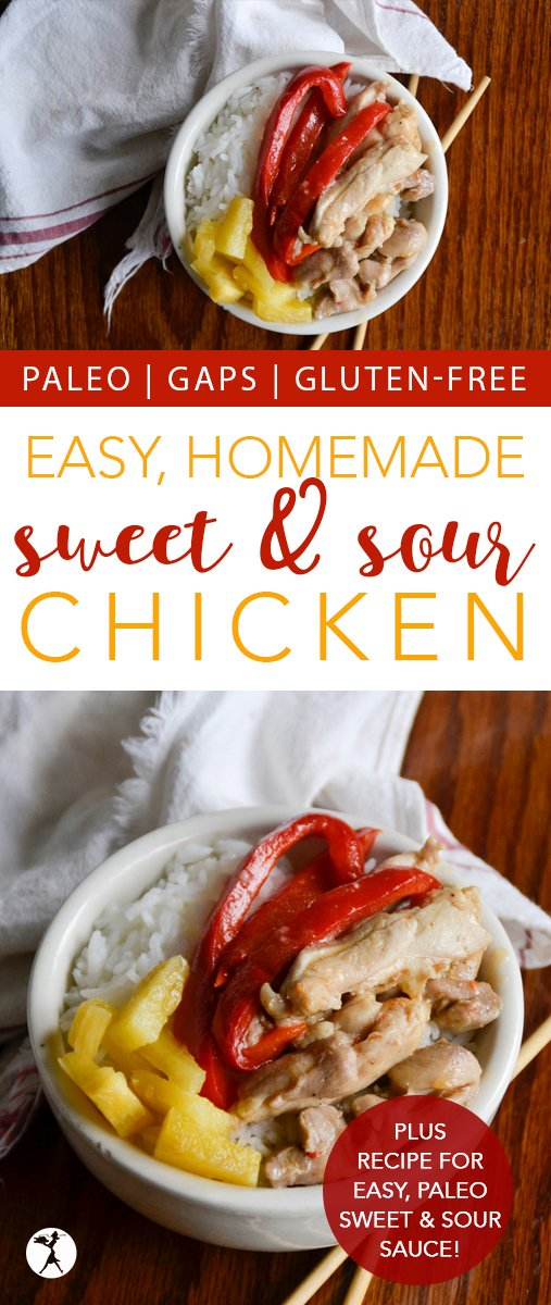 Move over take-out! This paleo sweet and sour chicken is an easy and delicious sub that can be made in the comfort of your kitchen. #paleo #asian #chinesefood #takeout #sweetandsour #chicken #dinner #realfood #grainfree #dairyfree #refinedsugarfree #healthy