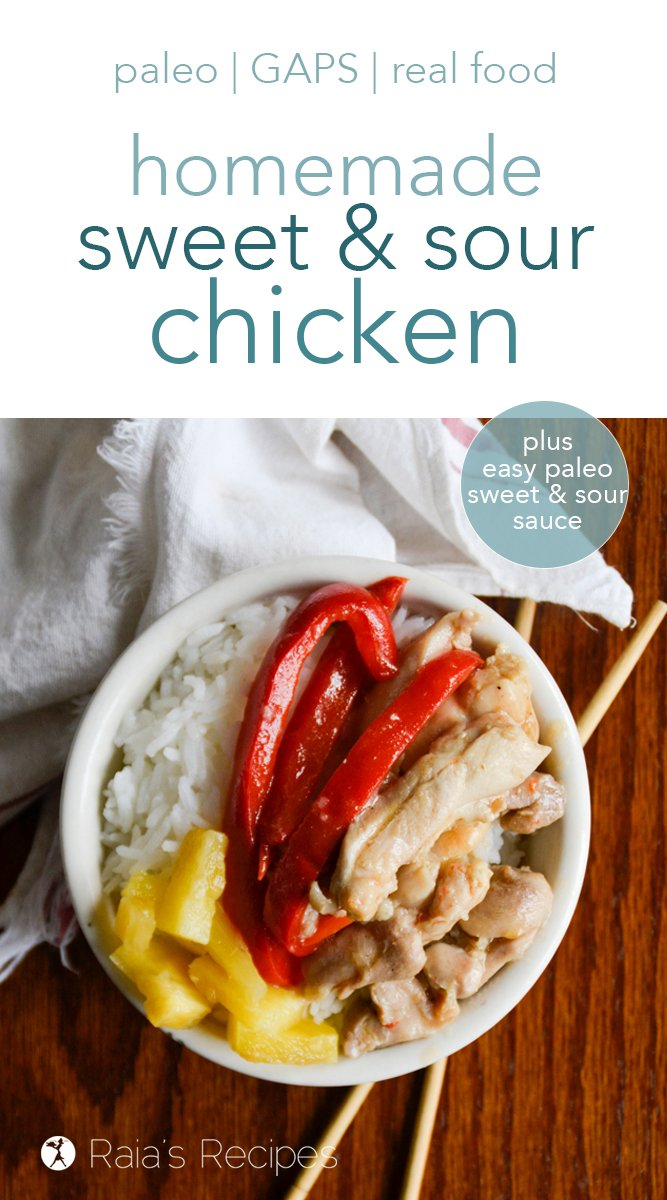 Move over take-out! This paleo sweet and sour chicken is an easy and delicious sub that can be made in the comfort of your kitchen. No need to search for a paleo sweet and sour sauce, either... a recipe for that is included! #sweetandsourchicken #paleo #gapsdiet #realfood #dairyfree #glutenfree #fakeouttakeout #dinner #chinesefood
