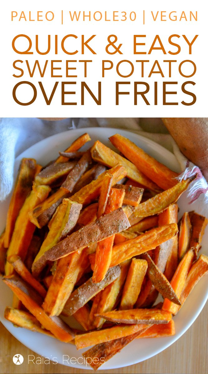 Easy Sweet Potato Oven Fries #glutenfree #grainfree #paleo #whole30 #vegetarian #vegan #dairyfree #sidedish #fries #sweetpotato #realfood