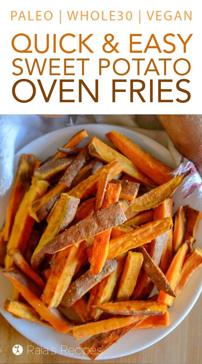 Easy Sweet Potato Oven Fries #glutenfree #grainfree #paleo #whole30 #vegetarian #vegan #dairyfree #sidedish #fries #sweetpotato #realfood
