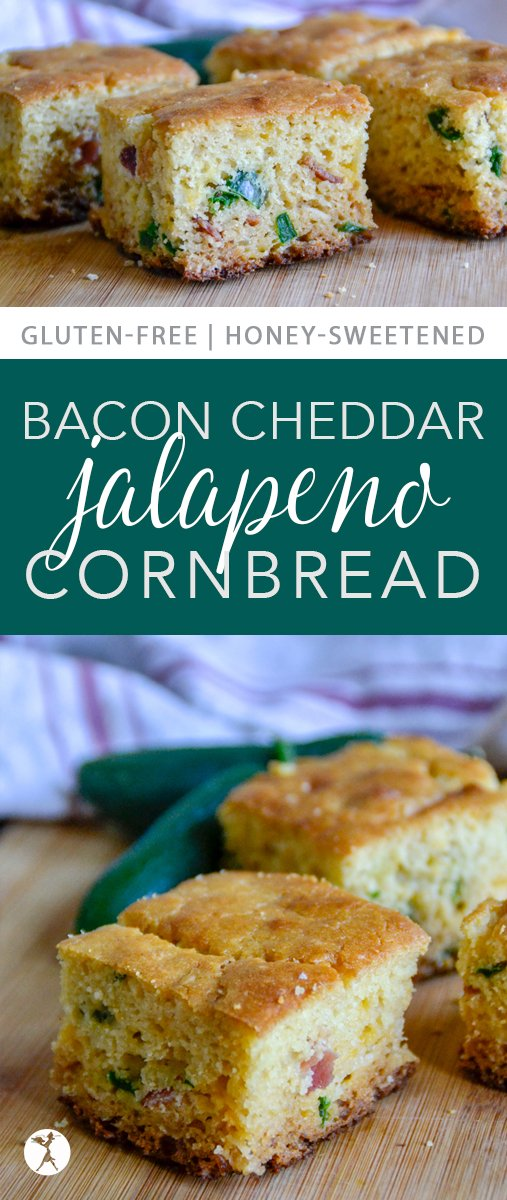Sweet, savory, spicy, this Bacon Cheddar Jalapeño Cornbread has it all! It's an easy gluten-free recipe and a fun twist on a southern classic. #glutenfree #realfood #refinedsugarfree #cornbread #bacon #cheddar #cheese #jalapeno #sidedish #bread #southerfood #comfortfood