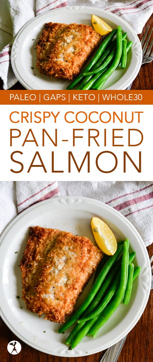 Easy and delicious, this Crispy Coconut Pan-Fried Salmon is a winner every time! With minimal prep and only a few paleo-friendly ingredients, you won't mind making it often.  #glutenfree #paleo #gapsdiet #whole30 #keto #lowcarb #seafood #dinner #salmon #coconut #fried #healthyfood