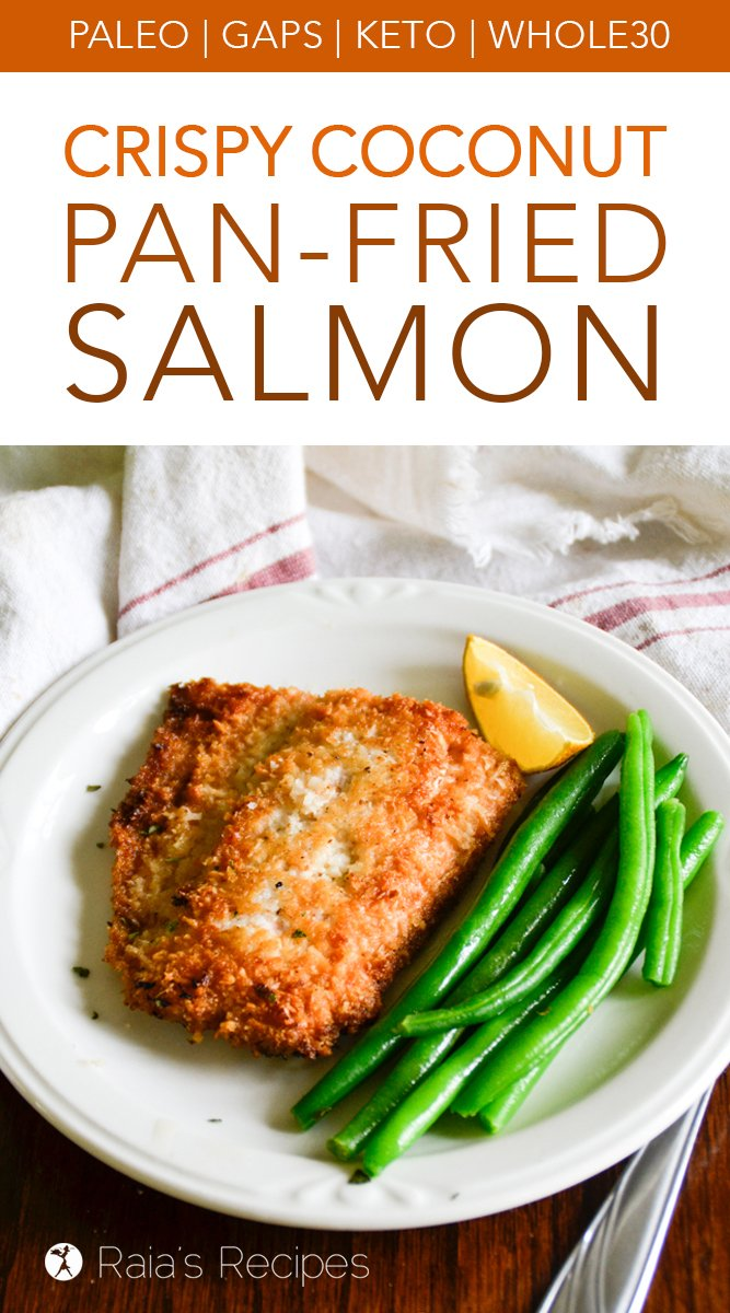 Crispy Coconut Pan-Fried Salmon #glutenfree #paleo #gapsdiet #whole30 #keto #lowcarb #seafood #dinner #salmon #coconut #fried #healthyfood