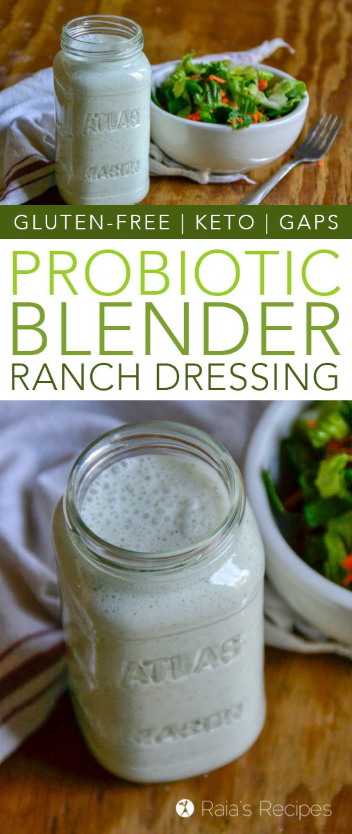 Easy to whip up, and tasty to serve, this keto Probiotic Blender Ranch Dressing is the perfect way to add nutrients to your salads or veggies! #glutenfree #keto #lowcarb #primal #GAPSdiet #probiotic #guthealth #salad #dressing #ranch