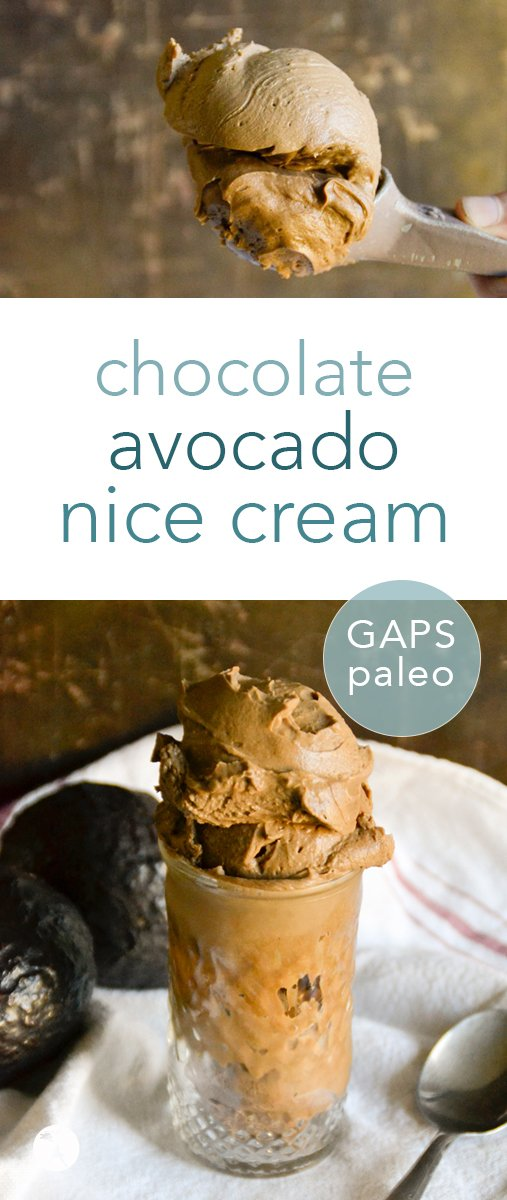 Packed with nutrients and delicious deep chocolate flavor, this paleo and GAPS-friendly Chocolate Avocado Nice Cream is a perfect treat for warm weather! #chocolate #avocado #nicecream #icecream #paleo #gapsdiet #realfood #glutenfree #vegetarian #dairyfree #eggfree #refinedsugarfree #healthytreats