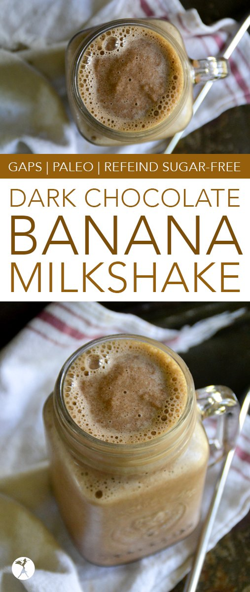Whip up this paleo and GAPS-friendly Dark Chocolate Banana Milkshake for a quick summertime treat! With only a few ingredients, it's sure to become a go-to for chocolate lovers. #paleo #gapsdiet #realfood #dairyfree #darkchocolate #chocolate #milkshake #dessert #vegetarian #refinedsugarfree
