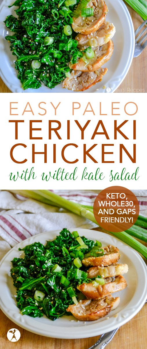 No need to rely on take-out - this easy Paleo Teriyaki Chicken will satisfy all your cravings! Serve it up with a side of wilted (or not wilted) kale salad for a tasty and easy meal. #paleo #whole30 #keto #glutenfree #asian #teriyaki #chicken #kale #salad #maindish #entre #gapsdiet