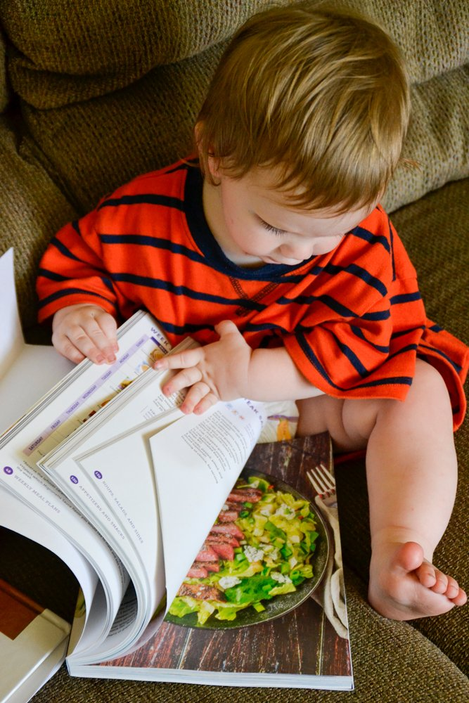 baby and cookbook