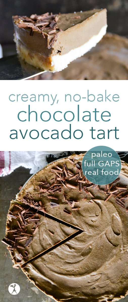 No need to turn on the oven to enjoy this delicious treat! Enjoy this no-bake Chocolate Avocado Tart without heating up your house. #avocado #chocolate #dessert #healthy #nobake #raw #paleo #glutenfree #gapsdiet #realfood #vegetarian #refinedsugarfree #darkchocolate