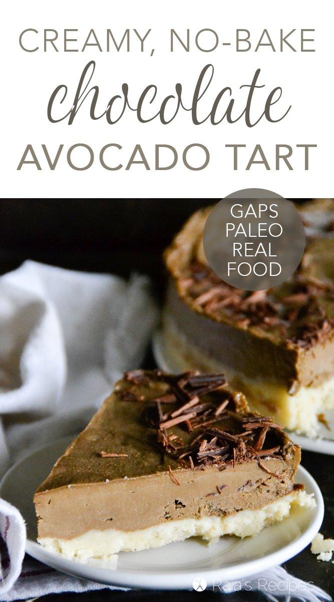 Paleo No-Bake Chocolate Avocado Tart #avocado #chocolate #dessert #healthy #nobake #raw #paleo #glutenfree #gapsdiet #realfood #vegetarian #refinedsugarfree #darkchocolate