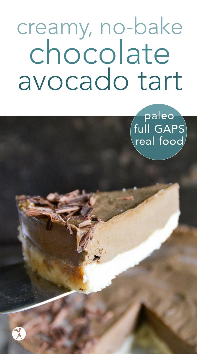 Paleo No-Bake Chocolate Avocado Tart #avocado #chocolate #dessert #healthy #nobake #raw #paleo #glutenfree #gapsdiet #realfood #vegetarian #refinedsugarfree #darkchocolate