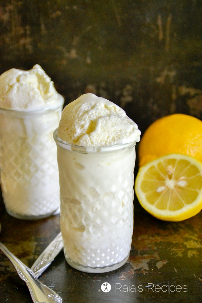 lemon ice cream close