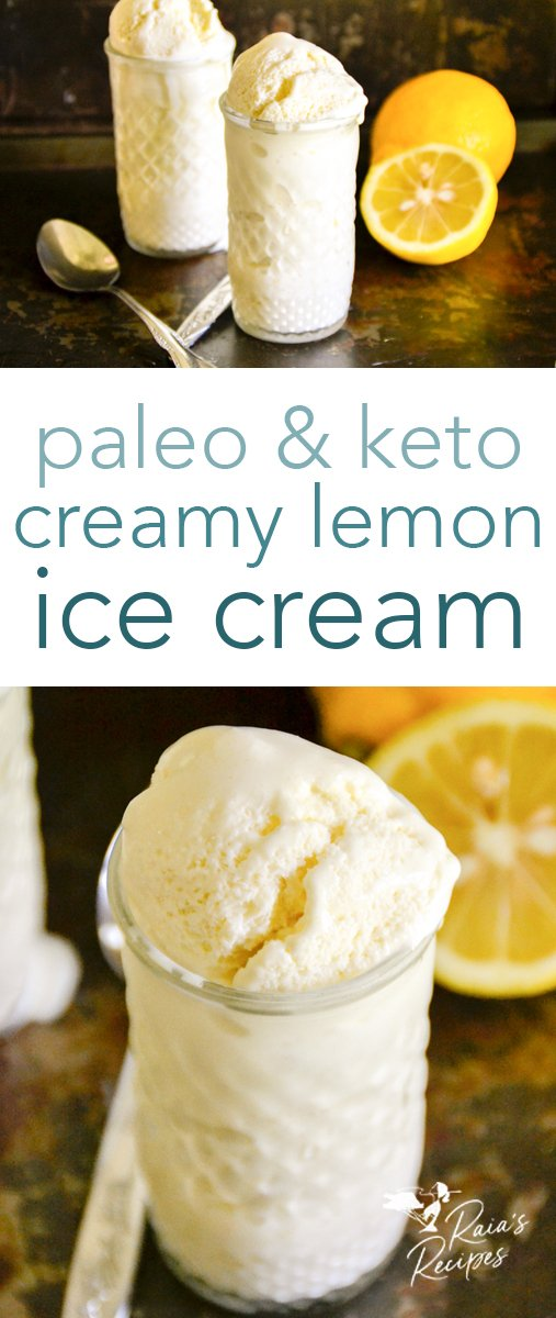 Easy and delicious creamy keto lemon ice cream. #lemon #icecream #keto #paleo #gapsdiet #stevia #summer