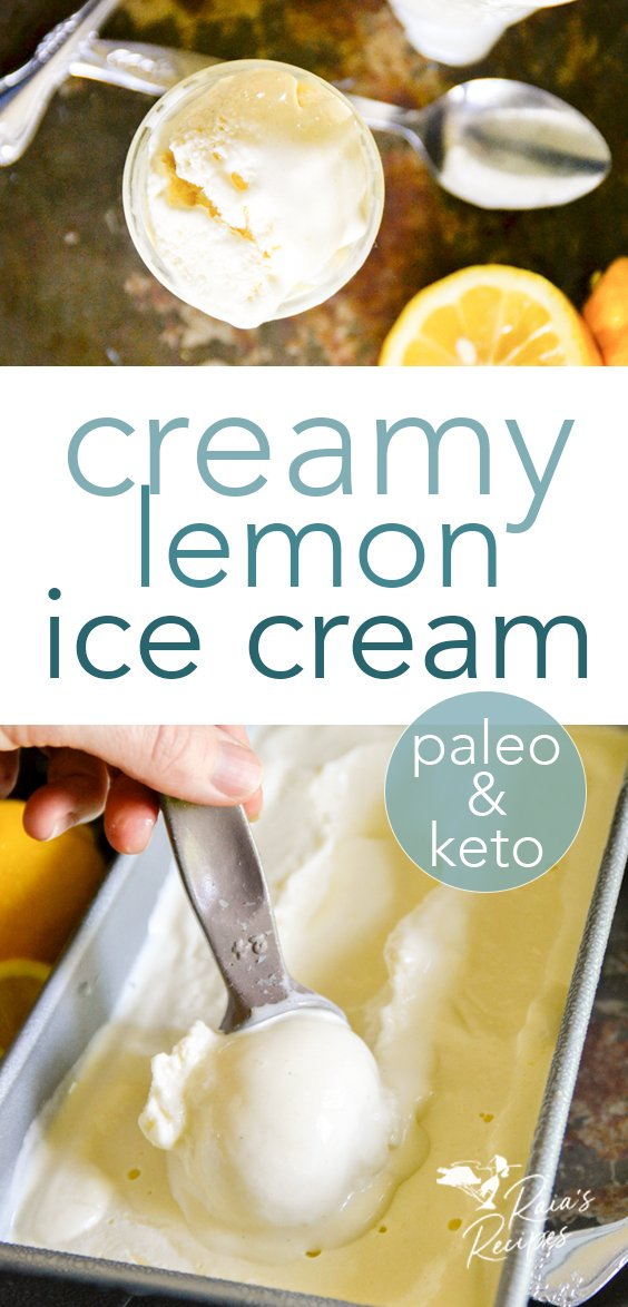 Step up your summer dessert game with this easy paleo and keto creamy lemon ice cream! Full of lemony goodness with an option for GAPS diet. #lemon #icecream #keto #paleo #gapsdiet #stevia #summer