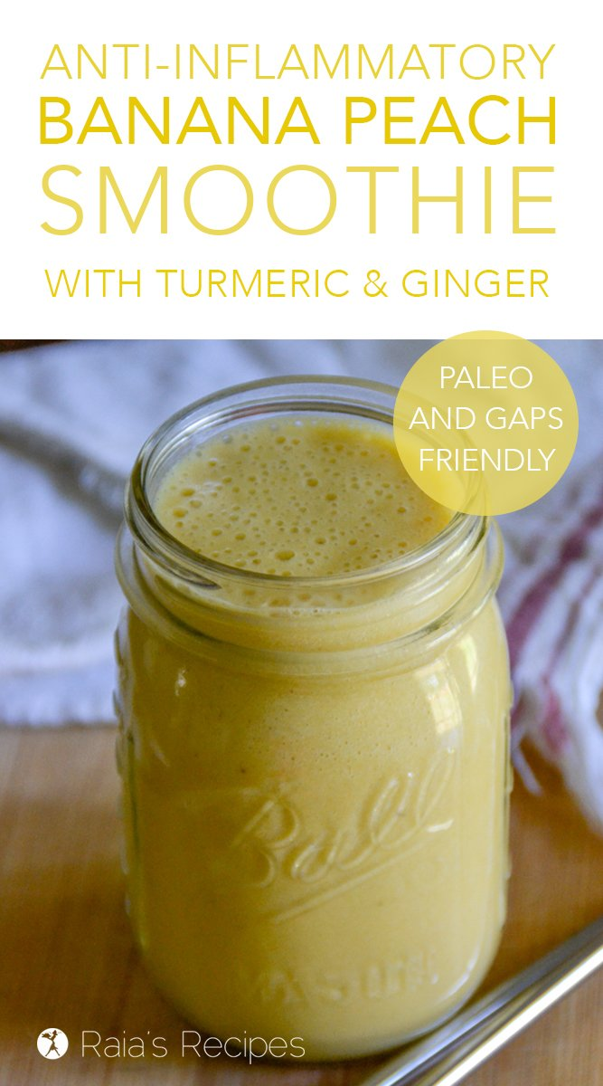 Anti-Inflammatory Banana Peach Smoothie with ginger & turmeric #smoothie #antiinflammatory #gapsdiet #paleo #vegetarian #banana #peach #ginger #turmeric