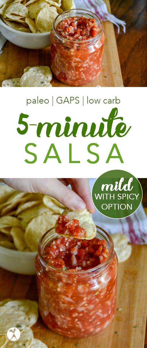 Need a quick and easy salsa? This delicious mild 5-minute salsa is just like a restaurant and completely paleo, GAPS, and keto-safe! #salsa #tomatoes #cilantro #condiments #paleo #gapsdiet #whole30 #keto #lowcarb #realfood #glutenfree #vegan #easy #mild