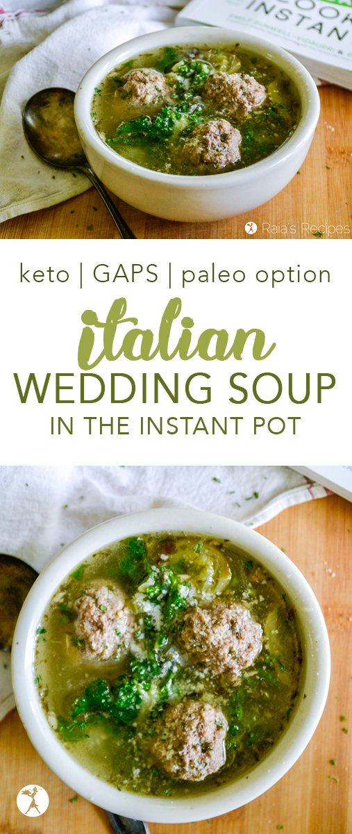 This Italian Wedding Soup in the Instant Pot is the perfect marriage of Italian-inspired meatballs and veggie soup. Low-carb and GAPS, with paleo option. #keto #lowcarb #soup #italian #weddingsoup #meatballs #zucchini #spinach #instantpot #glutenfree #paleooption #realfood #healthy