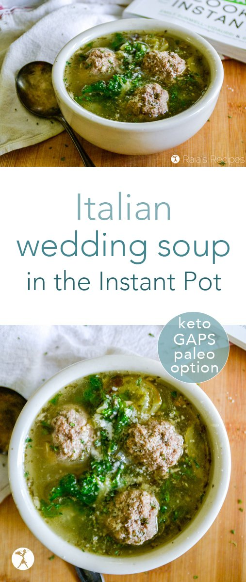 This Italian wedding soup in the Instant Pot is the perfect marriage of Italian-inspired meatballs and veggie soup. #italian #weddingsoup #instantpot #paleo #gapsdiet #keto #lowcarb #glutenfree
