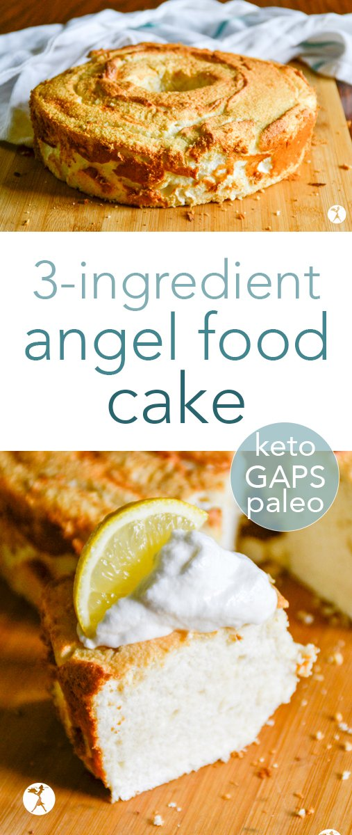 This 3-Ingredient paleo, keto and GAPS Angel Food Cake is perfect for a first birthday cake or for a healthy shovel for berries and whipped cream... #gapsdiet #paleo #keto #angelfoodcake #cake #birthdaycake #grainfree #dairyfree #sugarfree #refinedsugarfree #dessert #realfood #glutenfree