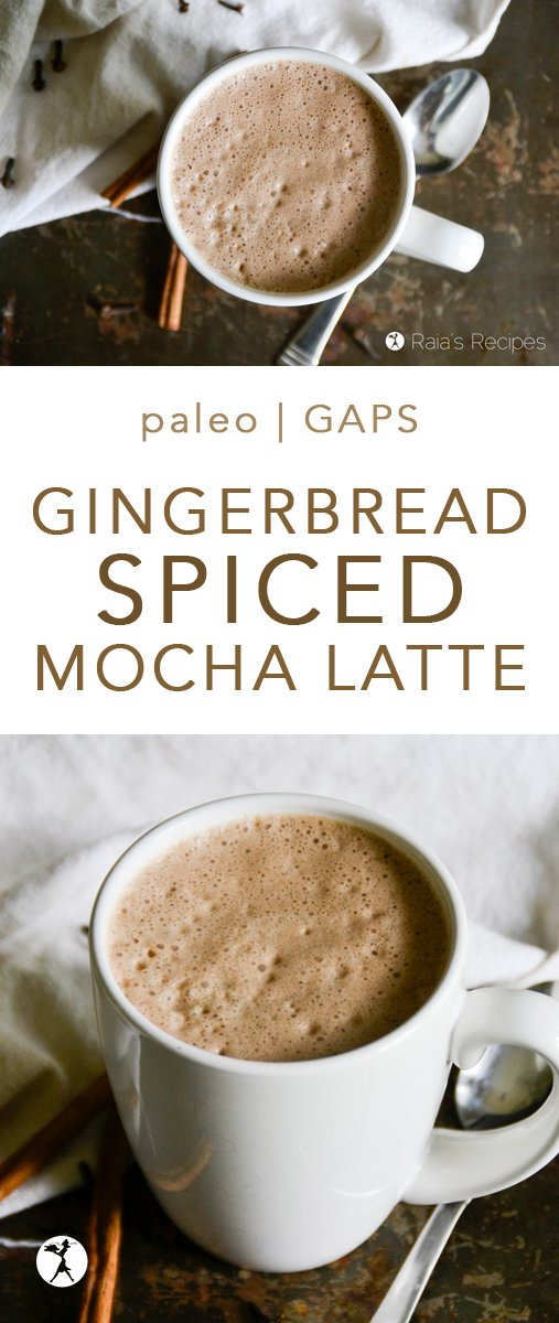 Perfectly spiced, with a hint of chocolate, this Gingerbread Spiced Mocha Latte is a delicious and comforting drink. It's great for a treat or something fancy to wake up to! #gingerbread #mocha #latte #homemade #coffee #paleo #glutenfree #dairyfree #eggfree #refinedsugarfree #GAPSdiet #realfood #spiced