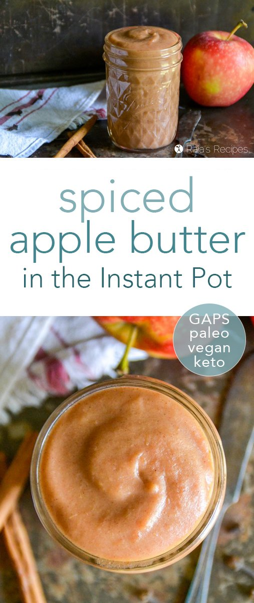 This easy spiced apple butter in the Instant Pot will fill your kitchen and your spoon with the delicious smells and tastes of fall! It's paleo, GAPS-friendly, vegan, and low-carb. #applebutter #instantpot #fall #apple #spiced #gapsdiet #paleo #keto #lowcarb #glutenfree