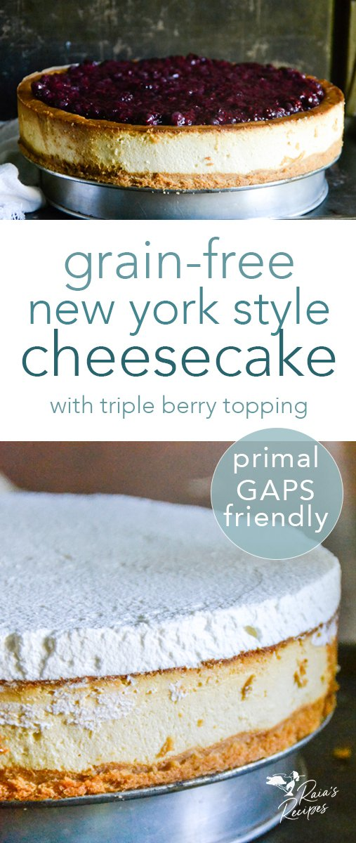 Perfectly thick and creamy, this primal and GAPS-friendly New York style cheesecake is a treat you'll be wanting again and again. #primal #gapsdiet #realfood #glutenfree #refinedsugarfree #cheesecake #newyork #dessert #berries