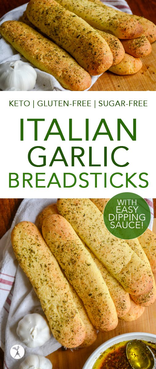 These easy keto Italian Garlic Breadsticks are the perfect side! Serve them with a bowl of easy dipping sauce for added fun! #keto #lowcarb #breadsticks #italian #garlic #glutenfree #sugarfree #easyketocookbook