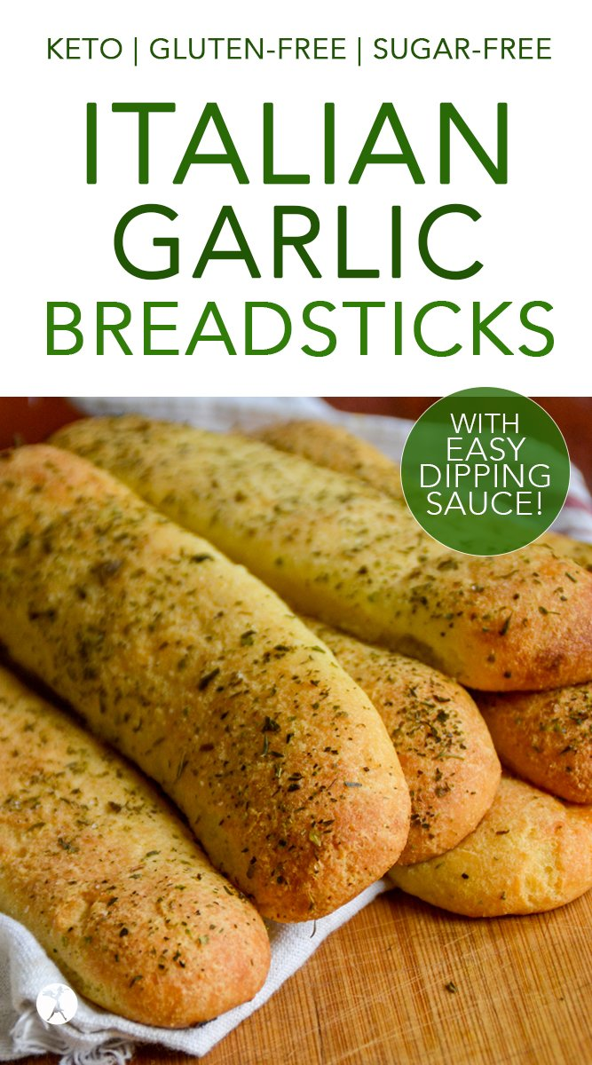 Easy Keto Italian Garlic Breadsticks with Dipping Sauce #keto #lowcarb #breadsticks #italian #garlic #glutenfree #sugarfree #easyketocookbook