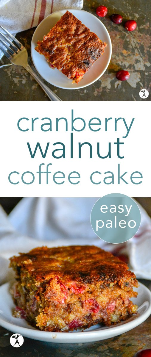 This easy paleo Cinnamon Walnut Coffee Cake is the perfect combination of tangy and sweet! With a deliciously moist crumb, and only sweetened with honey, it's perfect for a holiday breakfast or brunch! #breakfast #brunch #paleo #glutenfree #dairyfree #grainfree #cranberry #walnut #almondflour #coffeecake #realfood