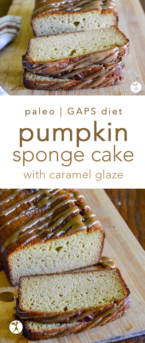 This paleo Pumpkin Sponge Cake with Caramel Glaze is a deliciously delicate dessert that's surprisingly packed with nutrition! #pumpkin #cake #caramel #paleo #gapsdiet #glutenfree #dairyfree #grainfree #refinedsugarfree #paleodessert