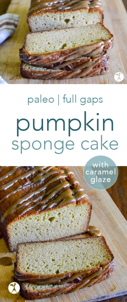 This paleo Pumpkin Sponge Cake with Caramel Glaze is a deliciously delicate dessert that's surprisingly packed with nutrition! #pumpkin #cake #caramel #paleo #gapsdiet #glutenfree #dairyfree #grainfree #refinedsugarfree #paleodessert