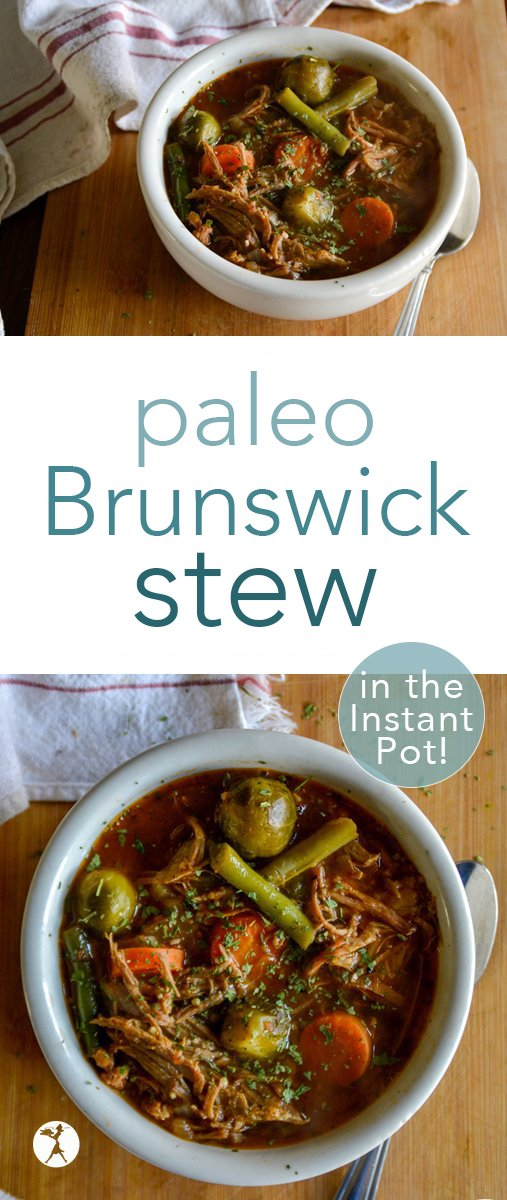 Thick and comforting, this paleo Brunswick Stew will have you filling your belly with its tangy sweetness over and over! #paleo #realfood #grainfree #dairyfree #eggfree #brunswickstew #southerfood #soup #stew #dinner #comfortfood #leftovers #pork #instantpot