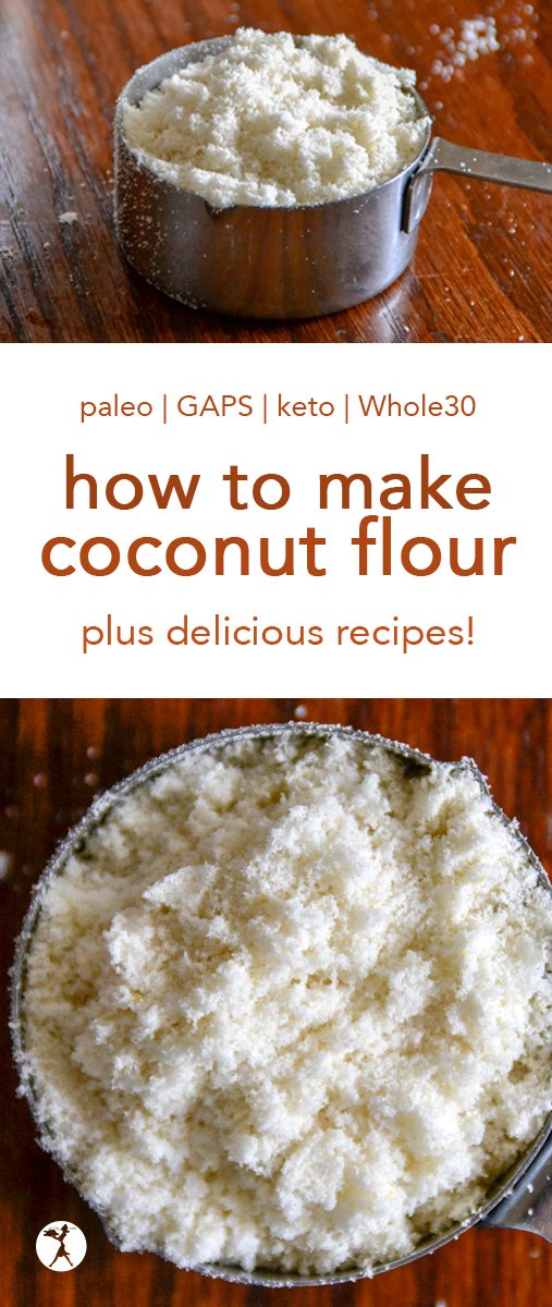 Find out how to make coconut flour at home! A cheap, easy, and nutritious DIY. Plus check out some tasty and healthy ways to use it! #paleo #glutenfree #keto #lowcarb #grainfree #gapsdiet #whole30 #howto #coconutflour