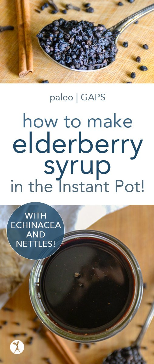 Elderberry syrup in the Instant Pot is the way to go if you love making your own elderberry syrup. It saves money, time, and helps keep your immune system safe from viruses! #elderberries #elderberrysyrup #instantpot #immune #healthy #naturalremedies #naturalhealth #paleo #gapsdiet #realfood #glutenfree #herbs