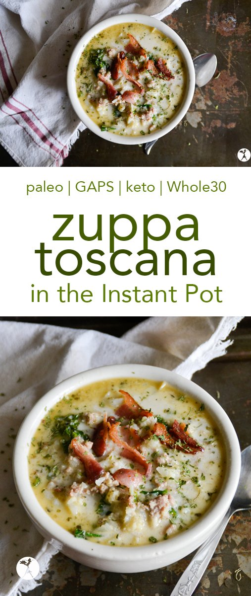 This paleo Zuppa Toscana in the Instant Pot is a comforting and hearty meal that will make you feel like you're at a fancy restaurant! #paleo #whole30 #gapsdiet #keto #zuppatoscana #instantpot #soup #dairyfree #glutenfree