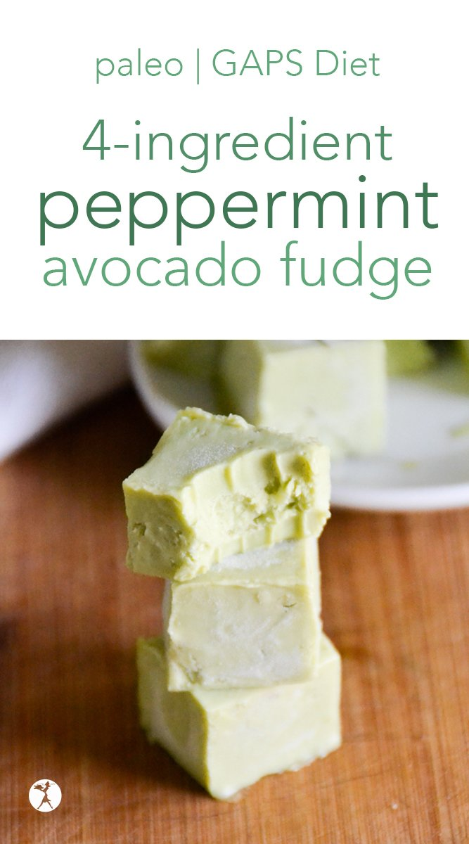 Light and refreshing, this 4-ingredient peppermint avocado fudge is a delicious healthy treat! Sweetened with honey, and packed with healthy fats, it's perfect for paleo and GAPS diets. #peppermint #avocado #fudge #mint #healthytreats #paleo #gapsdiet #healthyfats #nourishing #4ingredient