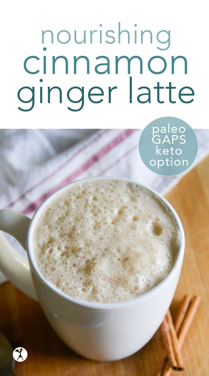 Nourishing and comforting, this Cinnamon Ginger Latte is a perfect pick-me-up on on a busy day, or a great way to warm yourself on a chilly morning.  #coffee #latte #cinnamon #ginger #drinks #healthy #paleo #keto #gapsdiet