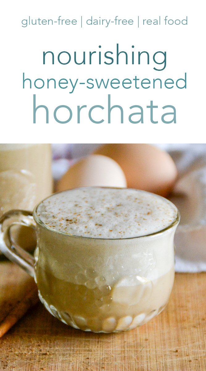 Thick, creamy, and delicious, this honey-sweetened horchata is packed full of vitamins, minerals, and prebiotics! It's a sweet, cinnamon-y favorite. #horchata #traditional #realfood #glutenfree #dairyfree #drinks #cinnamon #rice #mexican