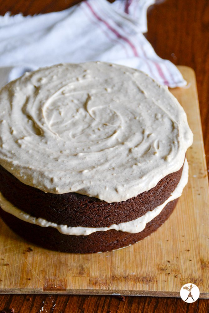 Uncut Mexican chocolate cake with cinnamon cream cheese frosting. raiasrecipes.com