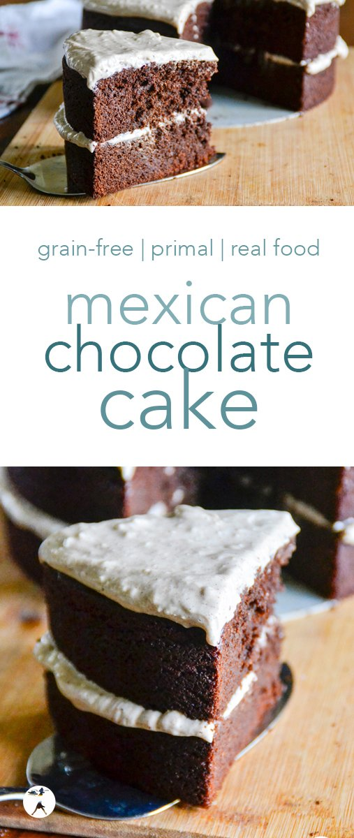 This easy, grain-free Mexican chocolate cake with cinnamon cream cheese frosting is a decadent primal and real food treat with a decadent blend of sweet and spicy! #mexicanchocolate #chocolatecake #primal #grainfree #glutenfree #realfood #dessert