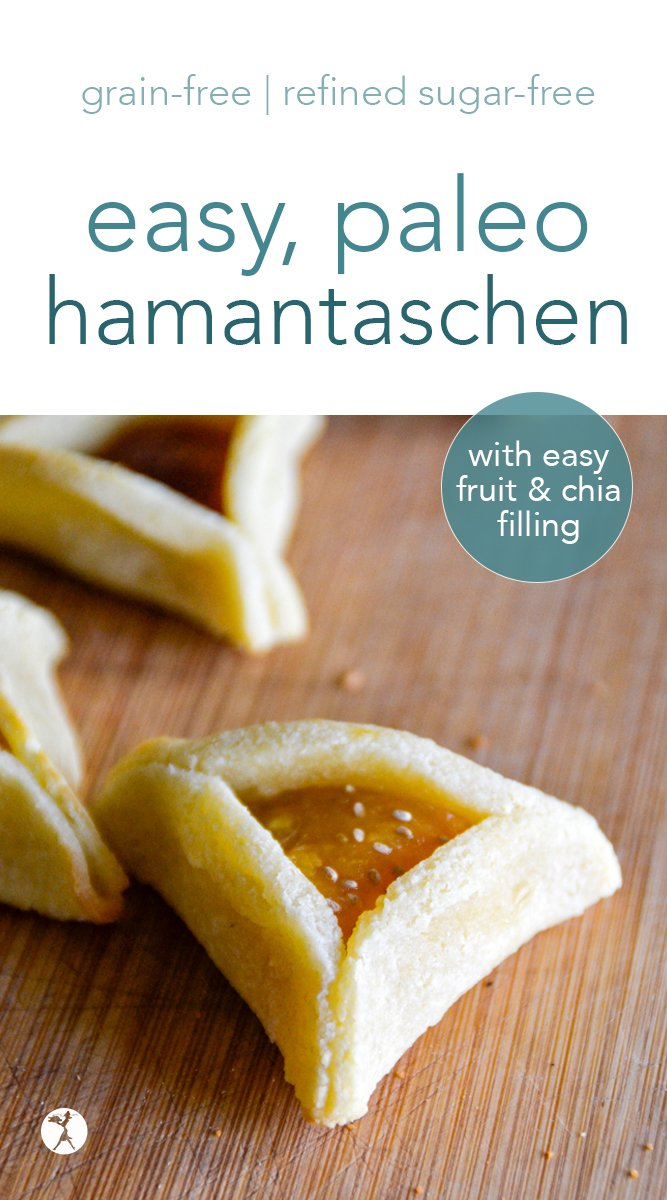 Easy, paleo hamantaschen cookies are perfect for a fun and healthy Feast of Purim celebration! With only a few, grain-free ingredients, filled with jam, and sweetened with honey, they're a treat that's sure to become a favorite. #paleo #grainfree #dairyfree #refinedsugarfree #hamantaschen #paleohamantaschen #gapsoption #cookies #dessert #purim