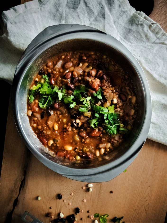Comforting Seven Bean Stew from the Simple Green