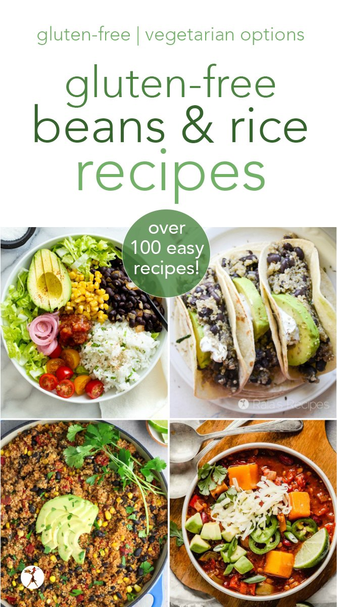 Have beans and rice and don't know what to do with them? Check out these 100+ amazingly delicious recipes! Breakfast, dessert, chili, Instant Pot, slow cooker, casseroles... there's something for everyone! #beans #rice #quinoa #glutenfree #instantpot #vegetarian #dessert #breakfast #maindish #sidedish
