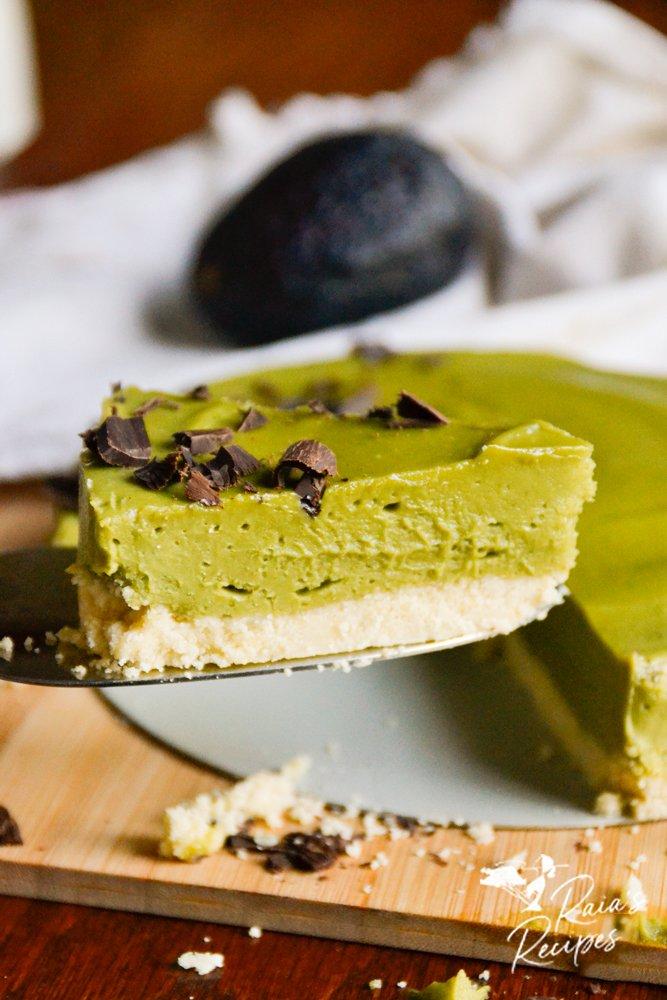 slice of matcha avocado tart