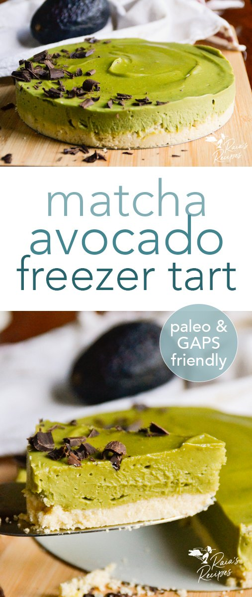 No-Bake Paleo Matcha Avocado Freezer Tart from RaiasRecipes.  #matcha #avocado #rawfood #paleo #gapsdiet #dessert #glutenfree #dairyfree #eggfree #refinedsugarfree #nobake