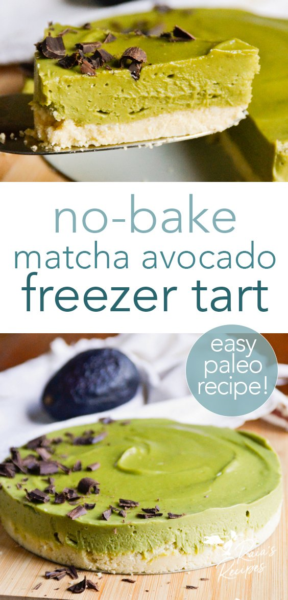This no-bake matcha avocado tart is a sure winner for dessert when you don't want to turn the oven on! Perfect for paleo and full GAPS diets. #matcha #avocado #rawfood #paleo #gapsdiet #dessert #glutenfree #dairyfree #eggfree #refinedsugarfree #nobake